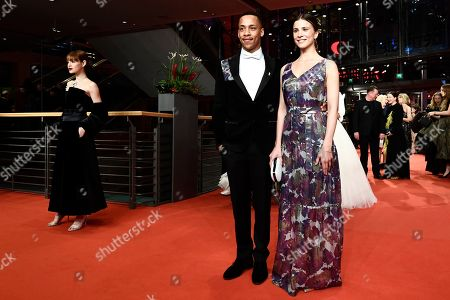 Jerry Hoffmann (C) and Aylin Tezel (R) arrive for the opening ceremony of the 69th annual Berlin International Film Festival in Berlin, Germany, 07 February 2019. The Berlinale runs from 07 to 17 February.
