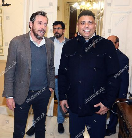 Valladolid CF's President, Brazilian Ronaldo Nazario (R) and Valladolid's Regional President, Oscar Puente (L), attend a meeting in Valladolid, northern Spain, 07 February 2019.