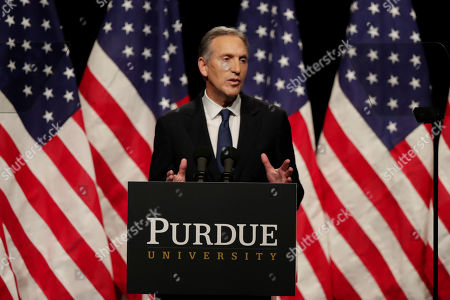 Former Starbucks CEO Howard Schultz speaks at Purdue University in West Lafayette, Ind