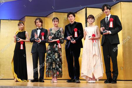 (L to R) Mayu Matsuoka, Tomoya Nakamura, Mei Nagano, Kei Tanaka, Wakana Aoi, Jun Shison