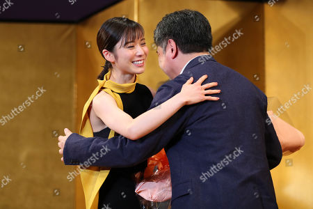 (L to R) Mayu Matsuoka, Hirokazu Koreeda, Feb 7, 2019 : The 43rd Elan d'or Award ceremony in Tokyo, Japan.