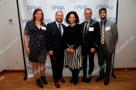 FPWA Chief Program and Policy Officer Emily Miles, NYC Council Speaker Corey Johnson, FPWA CEO Jennifer Jones Austin, FPWA Senior Fiscal Policy Analyst Derek Thomas, and FPWA Fiscal Policy Associate Gaurav Gupta-Casale attend the FPWA Federal Funds tracker launch event on in New York