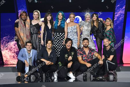 (Back, L-R) Zaachariaha Fielding, Courtney Act, Leea Nanos, Amy Sheppard, Emma Sheppard, Kate Miller-Heidke, Ella Hooper, Tania Doko and (front, L-R) Mark Vincent, Aydan Calafiore, Alfie Arcuri and Michael Ross pose for a photograph during a media call at the Gold Coast Convention and Exhibition Centre on the Gold Coast, Australia, 08 February 2019. Ten artists are performing an original composition at the Eurovision - Australia Decides for their chance to represent Australia at the Eurovision Song Contest 2019.