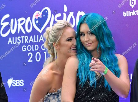 Stock Image of Emma (L) and Amy (R) Sheppard from the Australian band Sheppard are seen during a media call at the Gold Coast Convention and Exhibition Centre on the Gold Coast, Australia, 08 February 2019. Ten artists are performing an original composition at the Eurovision - Australia Decides for their chance to represent Australia at the Eurovision Song Contest 2019.
