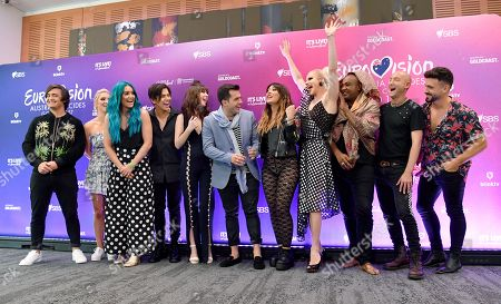 George, Emma and Amy Sheppard, Aydan Calafiore, Leea Nanos, Mark Vincent, Ella Hooper, Courtney Act, Zaachariaha Fielding, Michael Ross and Alfie Arcuri pose for a photograph during a media call at the Gold Coast Convention and Exhibition Centre on the Gold Coast, Australia, 08 February 2019. Ten artists are performing an original composition at the Eurovision - Australia Decides for their chance to represent Australia at the Eurovision Song Contest 2019.