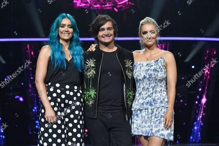Amy (L), George (C) and Emma Sheppard (R) of the band Sheppard pose for a photograph during a media call at the Gold Coast Convention and Exhibition Centre on the Gold Coast, Australia, 08 February 2019. Ten artists are performing an original composition at the Eurovision - Australia Decides for their chance to represent Australia at the Eurovision Song Contest 2019.