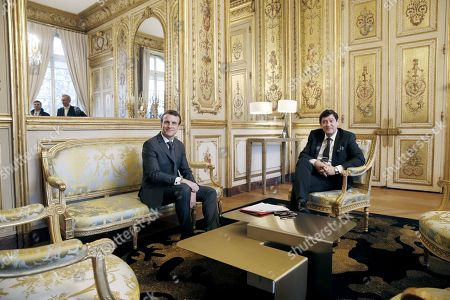 French President Emmanuel Macron (L) meets with President of French socialist party group at the Senate Patrick Kanner (R) at the Elysee Palace in Paris, France, 08 February 2019. French President Macron is meeting with politicians to discuss his plans to hold a referendum aimed at appeasing the so-called Yellow Vests protestors.