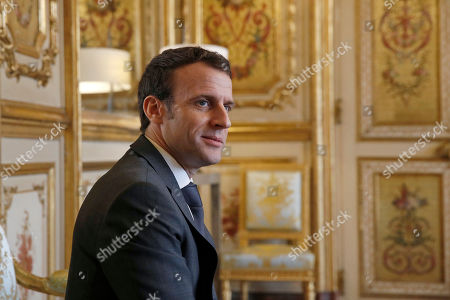 French President Emmanuel Macron (L) meets with President of the Union centrist group at the French Senate Herve Marseille (unseen) at the Elysee Palace in Paris, France, 08 February 2019. French President Macron is meeting with politicians to discuss his plans to hold a referendum aimed at appeasing the so-called Yellow Vests protestors.