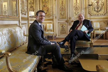 French President Emmanuel Macron (L) meets with President of the Union centrist group at the French Senate Herve Marseille (R) at the Elysee Palace in Paris, France, 08 February 2019. French President Macron is meeting with politicians to discuss his plans to hold a referendum aimed at appeasing the so-called Yellow Vests protestors.