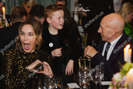 Sunny Ozell, Braydon Bent and Sir Patrick Stewart attend the BAFTA Film Gala, held at The Savoy
