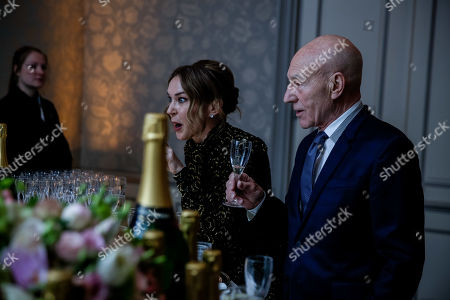 Sunny Ozell and Sir Patrick Stewart attend the BAFTA Film Gala, held at The Savoy
