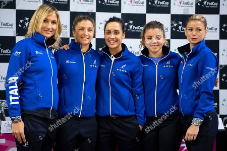 Italian Fed Cup team (L-R) captain Tathiana Garbin, players Sara Errani, Martina Trevisan, Jasmine Paolini, and Camila Giorgi pose for photographers during the draw ceremony of the Fed Cup world group II, first round tie between Switzerland and Italy in the Swiss Tennis Arena in Biel, Switzerland, 08 February 2019.