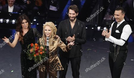 Virginia Raffaele, Italian singers Patty Pravo, Giovanni Caccamo and Briga perform on stage at the Ariston theatre during the 69th Sanremo Italian Song Festival, Sanremo, Italy, 08 February 2019. The festival runs from 05 to 09 February.