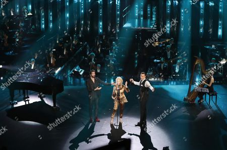 Giovanni Caccamo (L), Patty Pravo (C) and Briga on stage at the Ariston theatre during the 69th Sanremo Italian Song Festival, Sanremo, Italy, 08 February 2019. The festival runs from 05 to 09 February.
