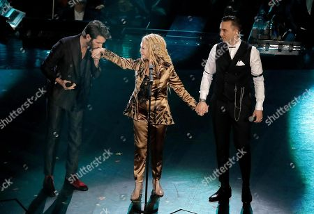 Stock Photo of Giovanni Caccamo (L), Patty Pravo (C) and Briga on stage at the Ariston theatre during the 69th Sanremo Italian Song Festival, Sanremo, Italy, 08 February 2019. The festival runs from 05 to 09 February.