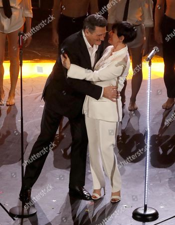 Italian singer Arisa (R) and British singer Tony Hadley perform on stage at the Ariston theatre during the 69th Sanremo Italian Song Festival, Sanremo, Italy, 08 February 2019. The festival runs from 05 to 09 February.