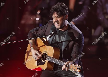 Fabrizio Moro performs on stage at the Ariston theatre during the 69th Sanremo Italian Song Festival, Sanremo, Italy, 08 February 2019. The festival runs from 05 to 09 February.