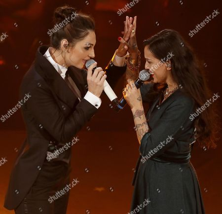 Anna Tatangelo (L) and Syria perform on stage at the Ariston theatre during the 69th Sanremo Italian Song Festival, Sanremo, Italy, 08 February 2019. The festival runs from 05 to 09 February.