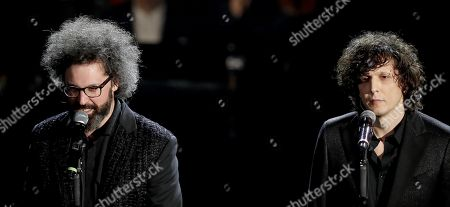 Simone Cristicchi (L) and Ermal Meta perform on stage at the Ariston theatre during the 69th Sanremo Italian Song Festival, Sanremo, Italy, 08 February 2019. The festival runs from 05 to 09 February.