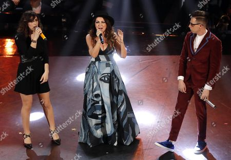 Federica Carta (L), Shade (R) and Cristina D'Avena (C) perform on stage at the Ariston theatre during the 69th Sanremo Italian Song Festival, Sanremo, Italy, 08 February 2019. The festival runs from 05 to 09 February.