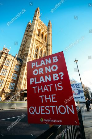 Anti-Brexit placard asking a rhetorical question of what is the Plan B?