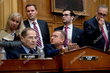 Doug Collins, Jerrold Nadler. Rep. Doug Collins, R-Georgia, the top Republican on the House Judiciary Committee, center, objects to Judiciary Committee Chairman Jerrold Nadler, D-N.Y., left, summoning Acting Attorney General Matthew Whitaker before the Democrat-controlled panel on Capitol Hill, in Washington