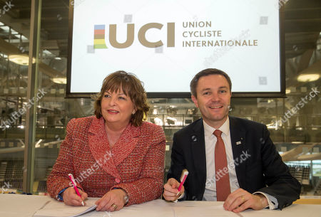Fiona Hyslop, Cabinet Secretary for Culture, Tourism and External Affairs, David Lappartient, President of the Union Cycliste Internationale