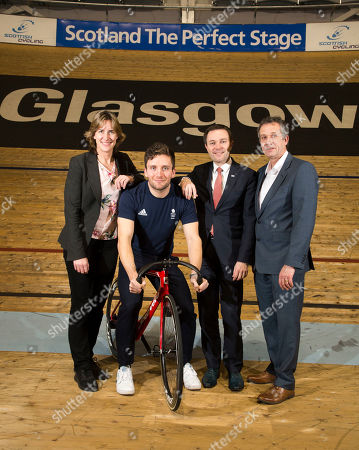 David Lappartient, President of the Union Cycliste Internationale Dame Katherine Grainger DBE, Chair of UK Sport  Frank Slevin, Chair of British Cycling, Callum Skinner, Commonwealth & Olympic Gold medallist