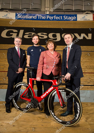 Fiona Hyslop, Cabinet Secretary for Culture, Tourism and External Affairs, David Lappartient, President of the Union Cycliste Internationale, Dame Katherine Grainger DBE, Chair of UK Sport, Frank Slevin, Chair of British Cycling Callum Skinner, Commonwealth & Olympic Gold medallist.