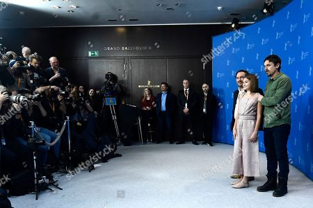 Teddy Schwarzman, US director Casey Affleck (R) and actress Anna Pniowsky pose during the photocall of 'Light of My Life ' during the 69th annual Berlin Film Festival, in Berlin, Germany, 08 February 2019. The movie is presented in the Panorama section at the Berlinale that runs from 07 to 17 February.