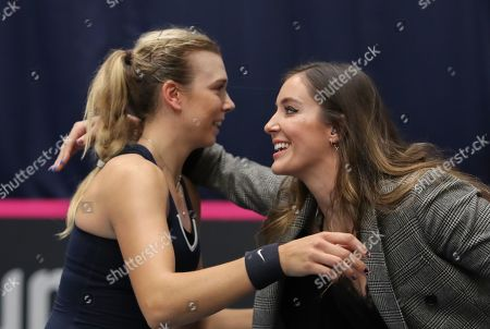 Stock Picture of Great Britain v Hungary -   Great Britain's Katie Boulter  is congratulated by Laura Robson
