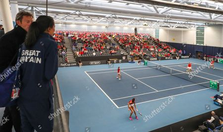 Stock Picture of Croatia v Serbia -  Great Britain captain Anne Keothavong and LTA  coach Jeremy Bates watch the Croatia v Serbia Deciding Doubles Rubber