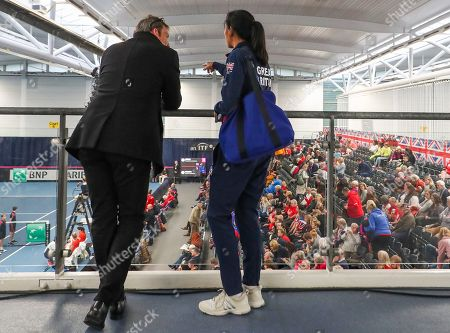 Croatia v Serbia -  Great Britain captain Anne Keothavong and LTA  coach Jeremy Bates watch the Croatia v Serbia Deciding Doubles Rubber