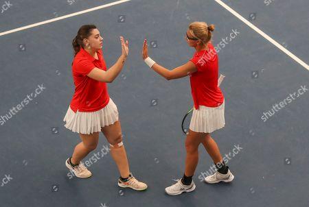 Croatia v Serbia -  Croatia's Daria Jurak and Ana Konjuh (left) lose   the deciding Doubles Rubber to Serbia.