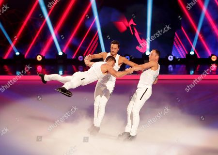 'Holding out for a hero' perform by Professional Ice Skaters, Brianne Delcourt and Sylvain Longchambon, Carlotta Edwards and Alexander Demetriou, Alexandra Schauman and Lukasz Rozycki