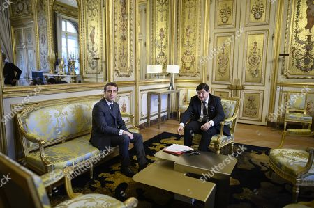 French President Emmanuel Macron meets with President of French socialist party group at the Senate, Patrick Kanner
