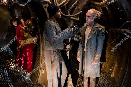Malina Weissman as Violet Baudelaire, Louis Hynes as Klaus Baudelaire, Usman Ally as Hook-Handed Man and Neil Patrick Harris as Count Olaf