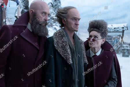 Richard E. Grant as Man with Beard But No Hair, Neil Patrick Harris as Count Olaf and Beth Grant as Woman with Hair But No Beard