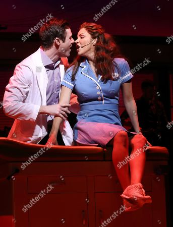 Katharine McPhee as Jenna and David Hunter as Dr Pomatter in Jessie Nelson's Waitress directed by Diane Paulus at The Adelphi Theatre