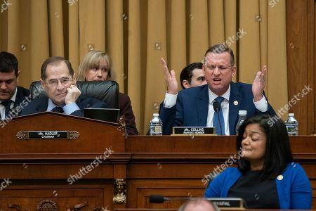 Pramila Jayapal, Jerrold Nadler, Doug Collins. Rep. Doug Collins, R-Georgia, the top Republican on the House Judiciary Committee, objects to Judiciary Committee Chairman Jerrold Nadler, D-N.Y., left, summoning Acting Attorney General Matthew Whitaker before the Democrat-controlled panel on Capitol Hill, in Washington, as Rep. Pramila Jayapal, D-Wash., listens at lower left. Democrats are eager to press him on his interactions with President Donald Trump and his oversight of the special counsel's Russia investigation