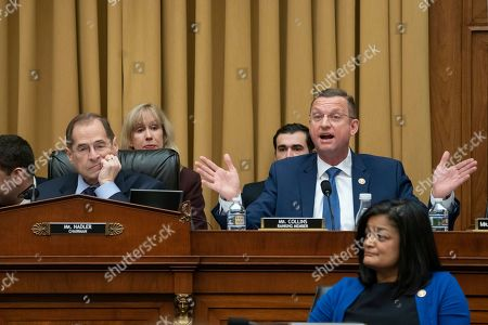 Jerrold Nadler, Doug Collins, Pramila Jayapal. Rep. Doug Collins, R-Georgia, the top Republican on the House Judiciary Committee, objects to Judiciary Committee Chairman Jerrold Nadler, D-N.Y., left, summoning Acting Attorney General Matthew Whitaker before the Democrat-controlled panel on Capitol Hill, in Washington, as Rep. Pramila Jayapal, D-Wash., listens at lower left. Democrats are eager to press him on his interactions with President Donald Trump and his oversight of the special counsel's Russia investigation