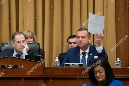 Jerrold Nadler, Doug Collins, Pramila Jayapal. Rep. Doug Collins, R-Georgia, right, the top Republican on the House Judiciary Committee, objects to Judiciary Committee Chairman Jerrold Nadler, D-N.Y., left, for summoning Acting Attorney General Matthew Whitaker before the Democrat-controlled panel on Capitol Hill, in Washington, as Rep. Pramila Jayapal, D-Wash., listens at lower right