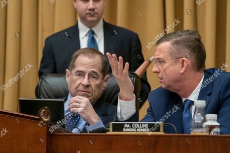Jerrold Nadler, Doug Collins. Judiciary Committee Chairman Jerrold Nadler, D-N.Y., left, and Rep. Doug Collins, R-Georgia, right, the top Republican, confer during testimony by Acting Attorney General Matthew Whitaker on Capitol Hill, in Washington. Democrats are pressing him on his interactions with President Donald Trump and his oversight of the special counsel's Russia investigation