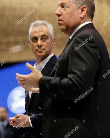 Rahm Emanuel, Joe Hinrichs. Chicago Mayor Rahm Emanuel, left, listens as he looks at Ford Ford's president of global operations of the Americas for Ford Motor Company, Joe Hinrichs during the media preview of the Chicago Auto Show at McCormick Place, in Chicago. Ford Motor Company said Thursday that it will invest $1 billion in its Chicago-area manufacturing operations to expand production of its Ford Explorer and Lincoln Aviator sport utility vehicles.The announcement, made at the Chicago Auto Show, will add 500 jobs to two manufacturing facilities, the assembly plant and stamping plant, said Joe Hinrichs, Ford's president of global operations. The expansion will bring the total number of workers at its Chicago-area facilities to 5,800. Chicago Auto Show will be open to the public February 9 - 17