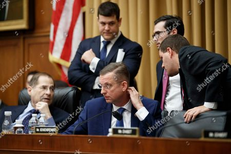 Ranking member Doug Collins (C), and Chairman Jerrold Nadler (L), of the House Judiciary Committee discuss a parliamentary issue during the House Judiciary Committee on oversight of the US Department of Justice on Capitol Hill in Washington, DC, USA, 08 February 2019. Acting Attorney General Matthew Whitaker's testimony before the committee comes after a back and forth fight a day earlier with the judiciary committee threatening to subpoena Whitaker and force him to answer questions regarding Special Council Robert Mueller's investigation.