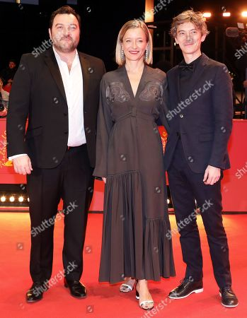Denis Menochet, French actress Aurelia Petit and French actor Swann Arlaud arrive for the premiere of 'By the Grace of God' (Grace a Dieu) during the 69th annual Berlin Film Festival, in Berlin, Germany, 08 February 2019. The movie is presented in the Official Competition at the Berlinale that runs from 07 to 17 February.