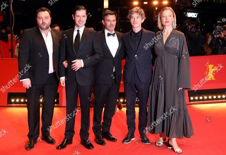 Denis Menochet, Melvil Poupaud, Francois Ozon, Swann Arlaud and Aurelia Petit arrive for the premiere of 'By the Grace of God' (Grace a Dieu) during the 69th annual Berlin Film Festival, in Berlin, Germany, 08 February 2019. The movie is presented in the Official Competition at the Berlinale that runs from 07 to 17 February.