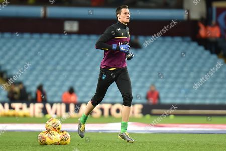 Aston Villa goalkeeper Lovre Kalinic (28) during the EFL Sky Bet Championship match between Aston Villa and Sheffield United at Villa Park, Birmingham