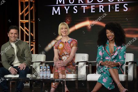 """Yannick Bisson, Lauren Lee Smith, Chantel Riley. Yannick Bisson, from left, Lauren Lee Smith and Chantel Riley participate in the """"Frankie Drake Mysteries"""" and """"Murdoch Mysteries"""" panel during the Ovation portion of the TCA Winter Press Tour, in Pasadena, Calif"""