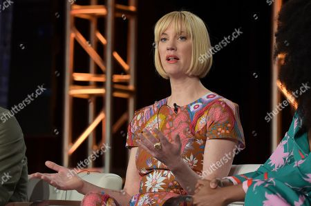 """Lauren Lee Smith participates in the """"Frankie Drake Mysteries"""" and """"Murdoch Mysteries"""" panel during the Ovation portion of the TCA Winter Press Tour, in Pasadena, Calif"""